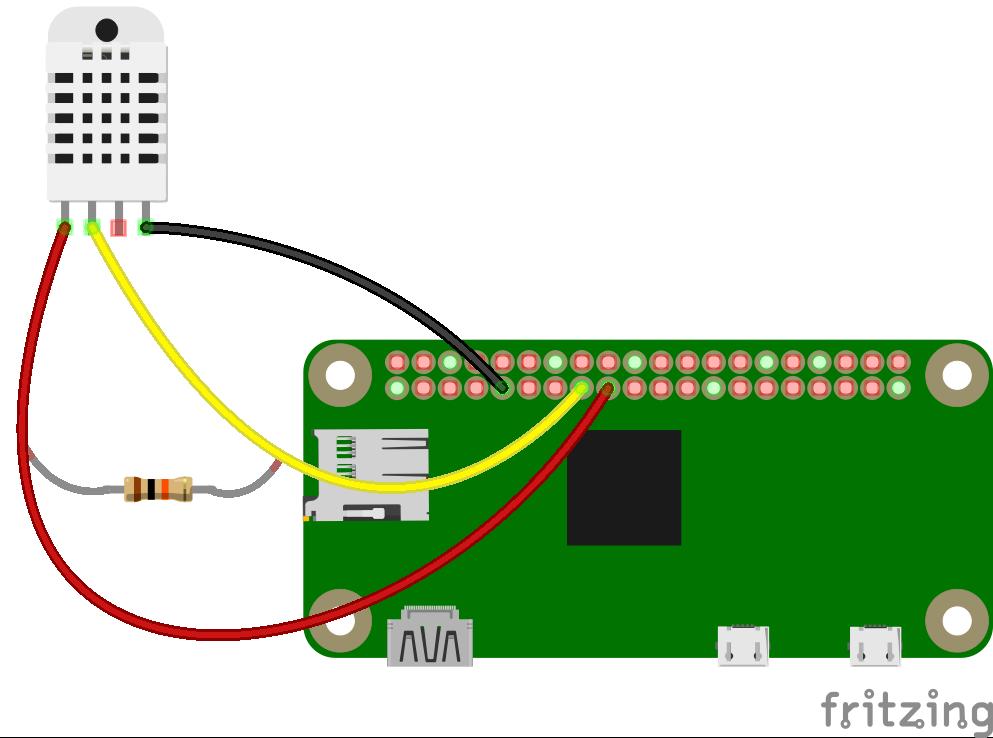 Fritzing DHT22 en Raspberry Pi Zero