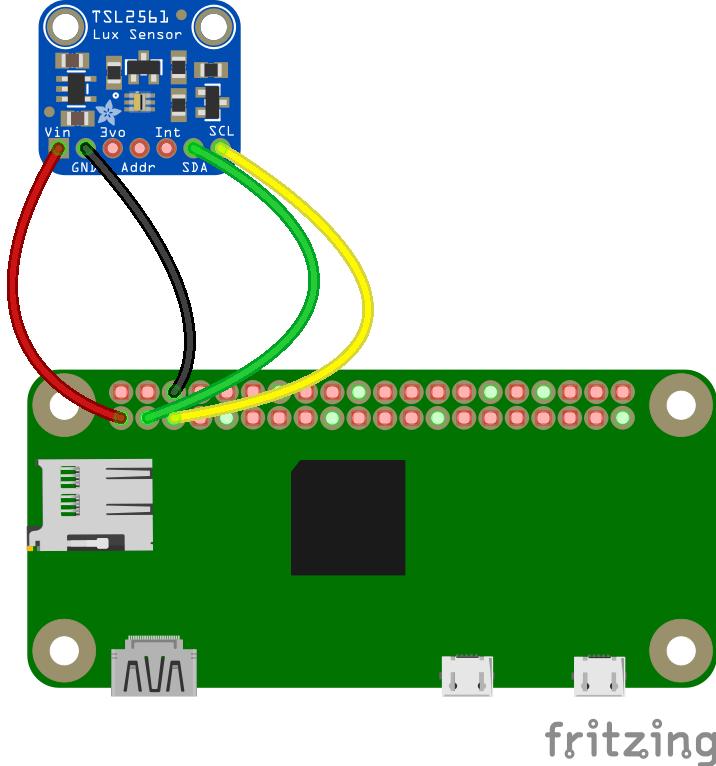 Fritzing TSL2561 en Raspberry Pi Zero